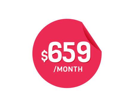 $659 Dollar Month. 659 USD Monthly sticker