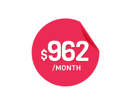 $962 Dollar Month. 962 USD Monthly sticker