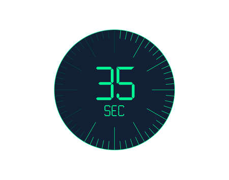 35 sec Timer icon, 35 seconds digital timer. Clock and watch, timer, countdown