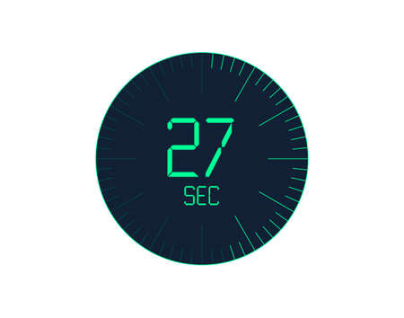27 sec Timer icon, 27 seconds digital timer. Clock and watch, timer, countdown