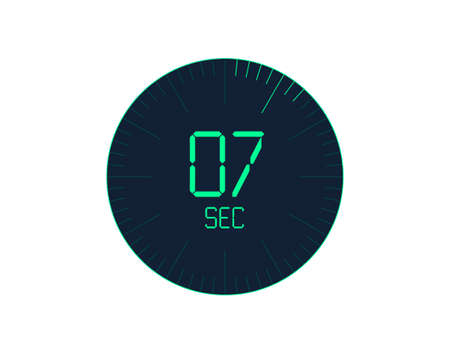7 sec Timer icon, 7 seconds digital timer. Clock and watch, timer, countdown