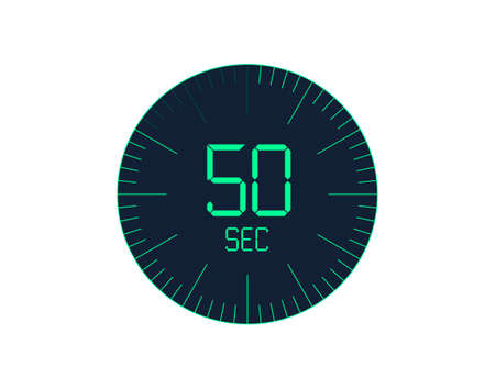 50 sec Timer icon, 50 seconds digital timer. Clock and watch, timer, countdown