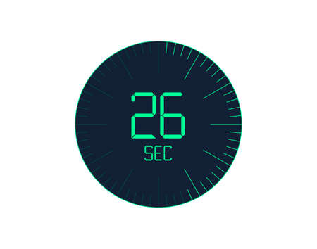 26 sec Timer icon, 26 seconds digital timer. Clock and watch, timer, countdown