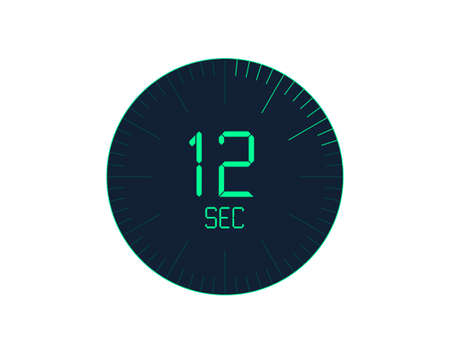 12 sec Timer icon, 12 seconds digital timer. Clock and watch, timer, countdown