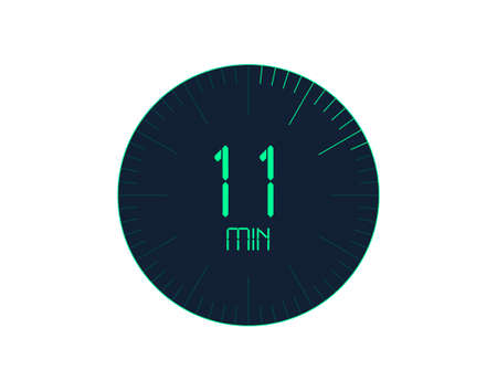 11 min Timer icon, 11 minutes digital timer. Clock and watch, timer, countdown