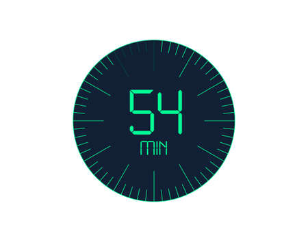 54 min Timer icon, 54 minutes digital timer. Clock and watch, timer, countdown