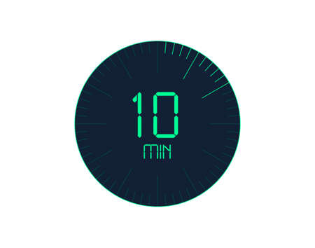 10 min Timer icon, 10 minutes digital timer. Clock and watch, timer, countdown