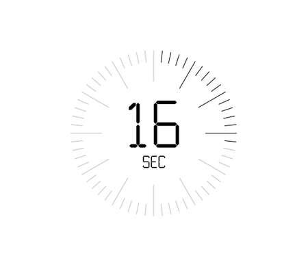 Timer 16 sec icon, 16 seconds digital timer