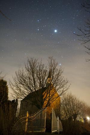 Church under stars