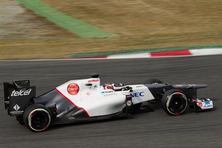 yaw: BARCELONA, SPAIN, March 4: Kamui Kobayashi slowing his F1 C31 Sauber during  Formula One Testing days, Catalunia, Barcelona (Spain), Sunday,March 4, 2012