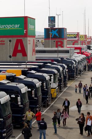 catalunia: BARCELONA, SPAIN, March 4: Trucks on Paddock during  Formula One Testing days, Catalunia, Barcelona (Spain), Sunday,March 4, 2012