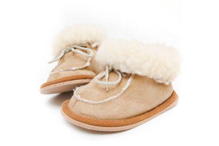 complemento: Dos botas de queso de cerdo en el fondo blanco