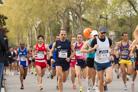 marathon running: Madrid, Spain - April 1, 2012: Unknowns Runners from XII half marathon Villa de Madrid