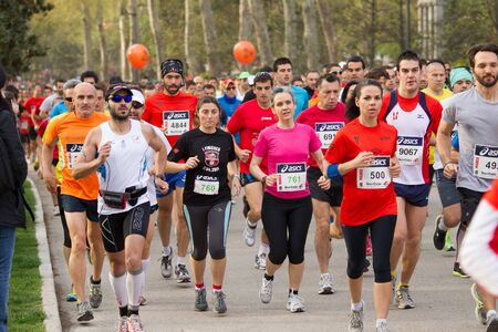 Madrid, Spain - April 1, 2012: Unknowns  athletes from XII half marathon Villa de Madrid