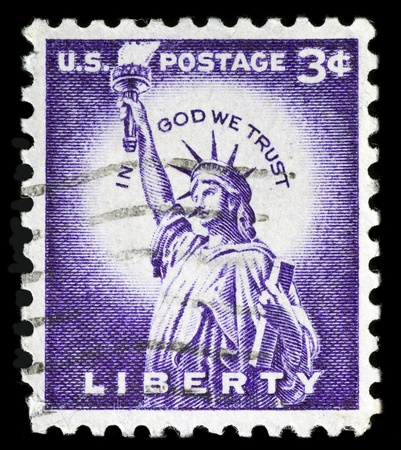 United States of America  - CIRCA 1954  a stamp printed in United States of America, shows the statue of liberty of United States of America,  circa 1954 photo