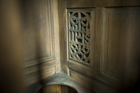 confession: Confession booth in a church