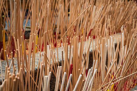 Incense sticks in buddhist temple in Bangkok, worship