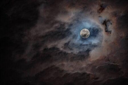 Full moon black background backdrop detail surface Stock fotó