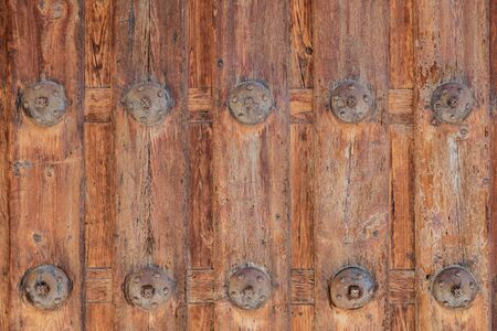 Texture natural wood door with iron graphic resources close-up detail