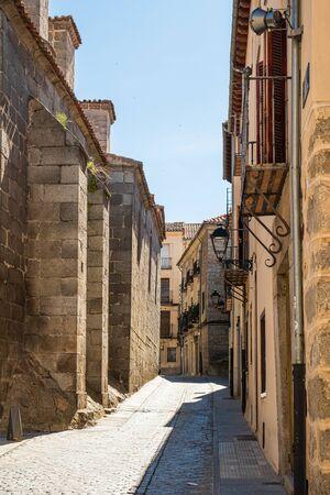 Detail view of street one side of church in Avila, Spain Stock fotó
