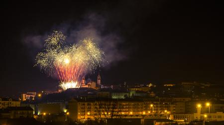 Fireworks at night in Viseu Stok Fotoğraf