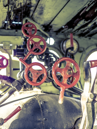 Valves in an old steam machine
