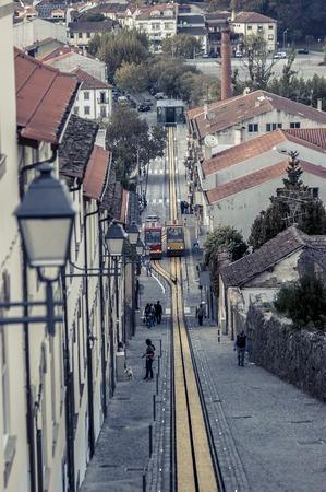 Funicular in Viseu Portugal Stok Fotoğraf