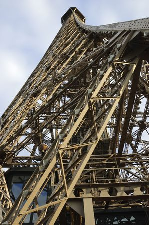 Wide-angle view of Eiffel Tower, Paris, France, from below showing details of iron structure against blue sky Stock Photo - 3777261