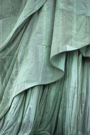 estatua de la justicia: Close-up, la secci�n inferior de la Estatua de la Libertad de la t�nica en la Isla Libertad, la Ciudad de Nueva York, EE.UU.