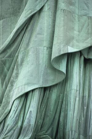 lower section: Close-up, lower section of Statue of Libertys robe on Liberty Island, New York City, USA