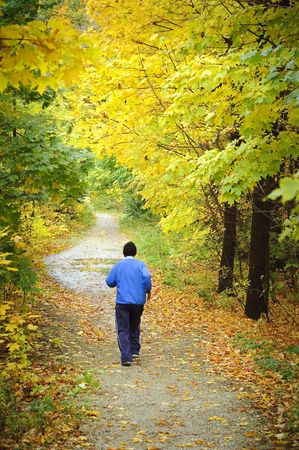 healthy path: Male jogging towards end of woodland trail in Fall