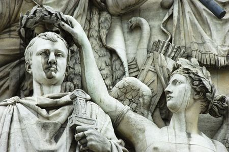 triomphe: Detail of high-relief on Arc de Triomphe, Triumph of Napoleon