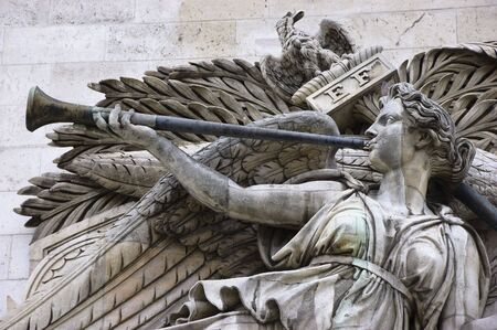 Detail of high-relief on Arc de Triomphe, Triumph of Napoleon Stock Photo - 3797844