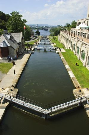 rideau canal: Vertical wide-angle view of Rideau Canal locks