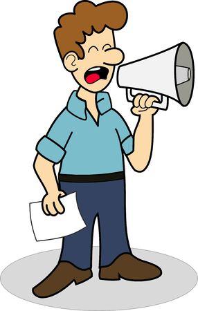 Man with blue shirt using a megaphone