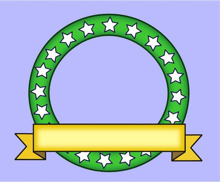 basic shape: Green ring with stars decorated with a yellow ribbon