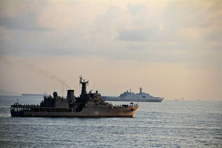 exploratory: Warship for naval from Indonesia. Exploratory sea in Batam Indonesia. Editorial