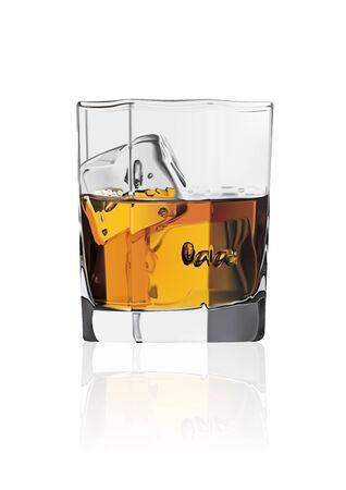 scotch: Wektor szczegółowe szkła szkockiej whisky z siatki i lodzie