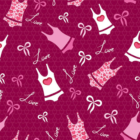 Seamless valentine pattern with ribbons, words love and printed underwear. Vector