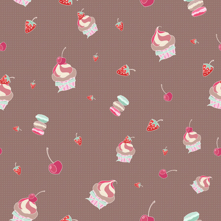 Seamless background with cupcakes, macaroons, cherries and strawberries.