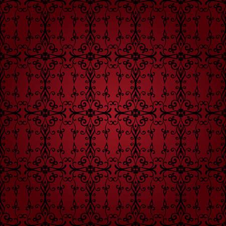 Seamless vector damask pattern. Red and black. Stok Fotoğraf - 68694741
