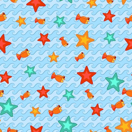 guppies: Seamless background with cartoon sea stars and guppies.