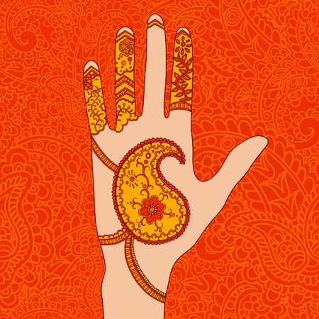 thai motifs: Vector illustration of hand with mehendi ornament. Illustration