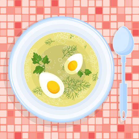 greens: Vector illustration of chicken broth with eggs and greens.