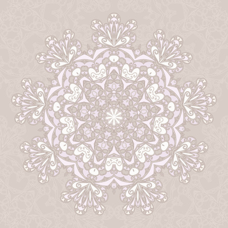 mongoloid: Ornamental round lace pattern, circle beige background.