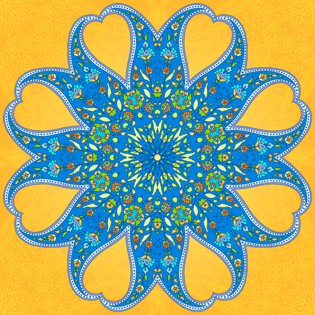 indian teenager: Rounded ornament based on paisley motives. Bright blue and yellow.