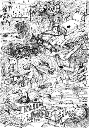fantasy world: Hand drawn doodle background. Detailed fantasy world. Crazy and fun.