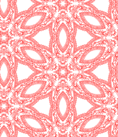 Seamless monochrome background. Floral hexes. Red and white.