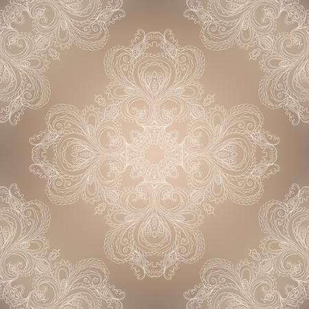 Seamless beige victorian damask pattern.