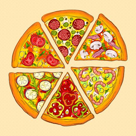 Vector illustration of tasty pizza. Illustration